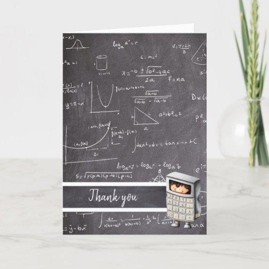 Cute black and white math equation calculator boy thank you card
