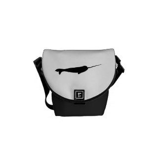 Cute Black and White Narwhal Silhouette Courier Bag