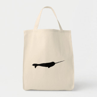 Cute Black and White Narwhal Silhouette Tote Bag