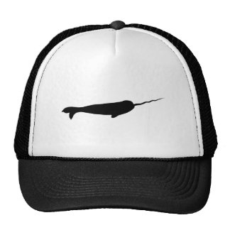 Cute Black and White Narwhal Silhouette Trucker Hat