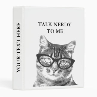 Cute black and white NERDY CAT photo mini binder