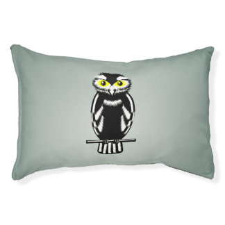 Cute Black and White Owl Small Dog Bed
