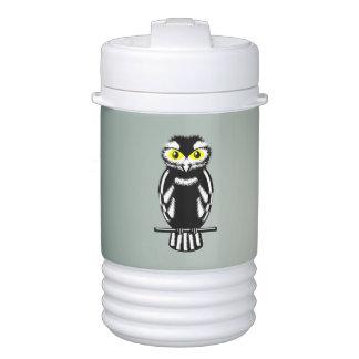 Cute Black and White Owl Igloo Beverage Cooler
