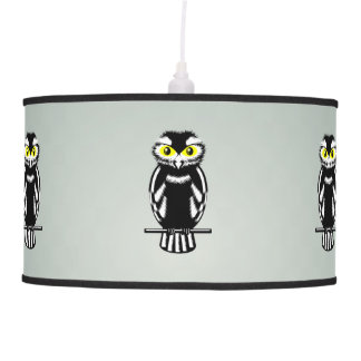 Cute Black and White Owl Ceiling Lamp