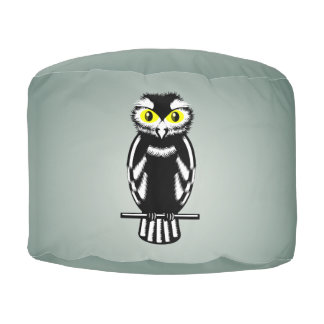 Cute Black and White Owl Round Pouf