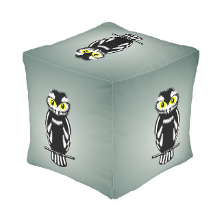 Cute Black and White Owl Cube Pouf
