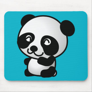 Cute black and white panda bear cartoon graphic mouse pad
