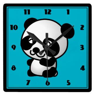 Cute black and white panda bear cartoon graphic square wall clock