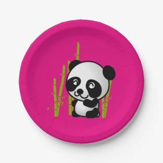 Cute black and white panda bear in a bamboo grove. 7 inch paper plate