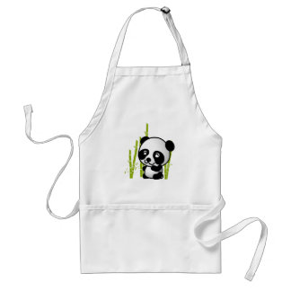 Cute black and white panda bear in a bamboo grove. adult apron