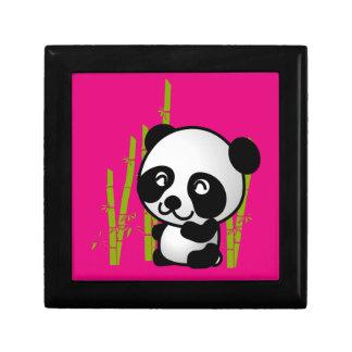 Cute black and white panda bear in a bamboo grove gift box
