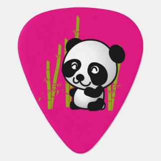 Cute black and white panda bear in a bamboo grove guitar pick