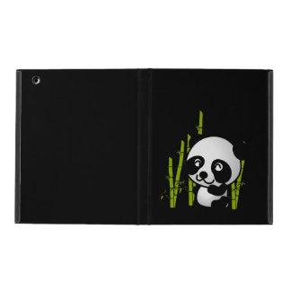 Cute black and white panda bear in a bamboo grove. iPad folio case