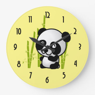Cute black and white panda bear in a bamboo grove. large clock