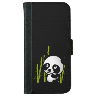 Cute black and white panda bear in a bamboo grove. iPhone 6 wallet case