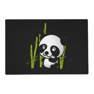 Cute black and white panda bear in a bamboo grove placemat