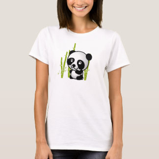 Cute black and white panda bear in a bamboo grove. T-Shirt
