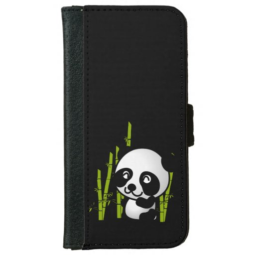 Cute black and white panda bear in a bamboo grove wallet for Grove iphone 4 case