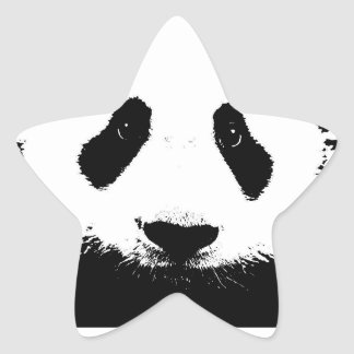 cute black and white panda bear star sticker