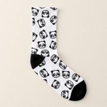 Cute Black and White Panda Cartoon Pattern Socks
