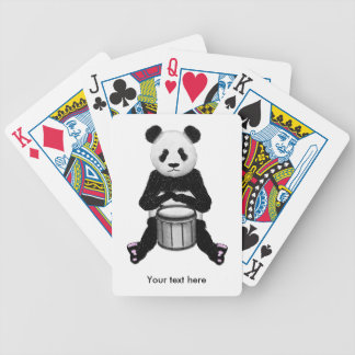 Cute BLack and White Panda Drummer Bicycle Playing Cards
