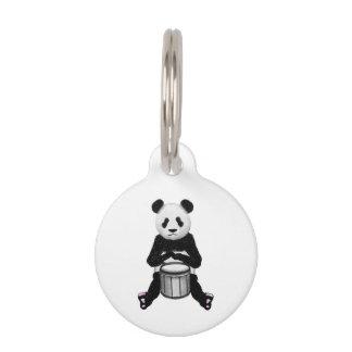 Cute BLack and White Panda Drummer Pet Tag