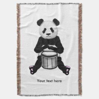 Cute BLack and White Panda Drummer Throw