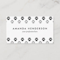 Cute Black And White Paw Prints Pattern Business Card