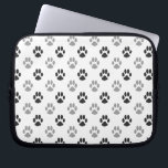 "Cute Black And White Paw Prints Pattern Laptop Sleeve<br><div class=""desc"">Cute Black And White Paw Prints Pattern</div>"