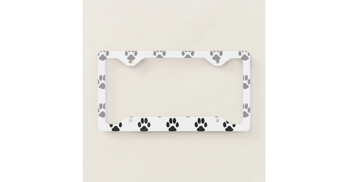Cute Black And White Paw Prints Pattern License Plate Frame | Zazzle.com