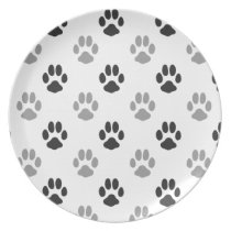 Cute Black And White Paw Prints Pattern Plate