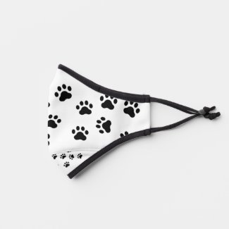 Cute Black And White Paw Prints  Premium Face Mask