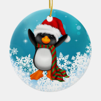 Cute Black and White Penguin Christmas Ornament