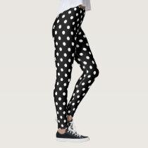 Cute black and white polka dots pattern leggings