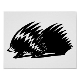 Cute black and white Porcupine for kids  Customize Poster