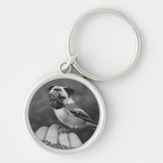 Cute Black and White Pug Bird Round Keychain