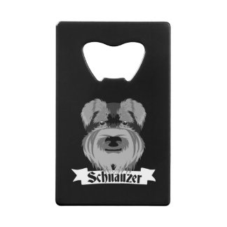Cute Black and White Schnauzer Wallet Bottle Opener
