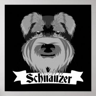 Cute Black and White Schnauzer Poster