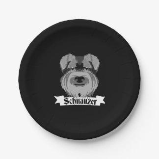 Cute Black and White Schnauzer 7 Inch Paper Plate