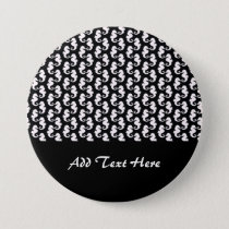 Cute Black and White Seahorse Pattern Pinback Button