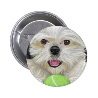 Cute Black and White Shih Tzu with a Tennis Ball Pinback Button