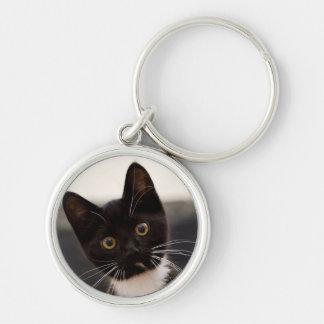 Cute Black And White Tuxedo Kitten Keychain