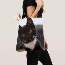 Cute Black And White Tuxedo Kitten Tote Bag