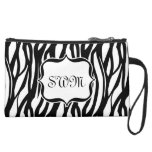 Cute Black and White Zebra Monogram Bag Wristlet Clutches