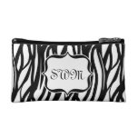 Cute Black and White Zebra Pattern Monogram Cosmetic Bag