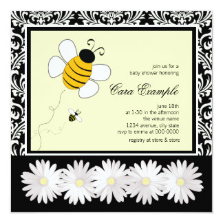 Cute Black and Yellow Bumble Bee Baby Shower Personalized Invitations