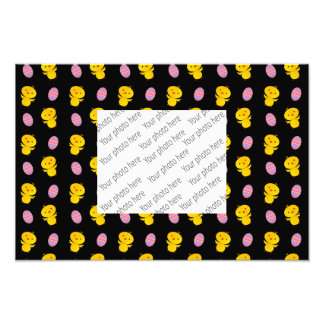 Cute black baby chick easter pattern photographic print
