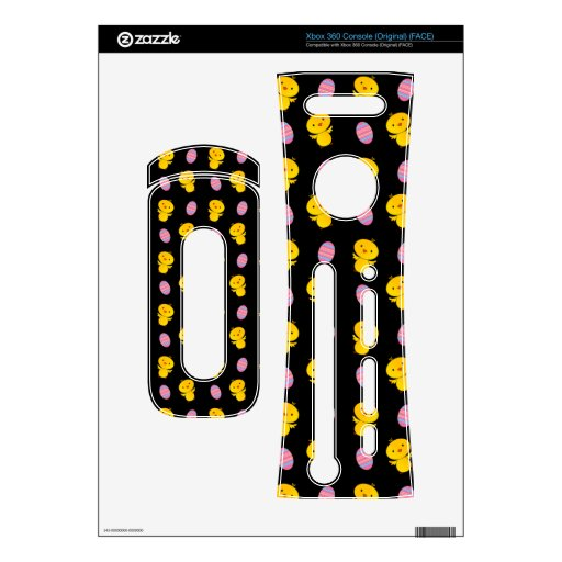 Cute black baby chick easter pattern skin for xbox 360 console