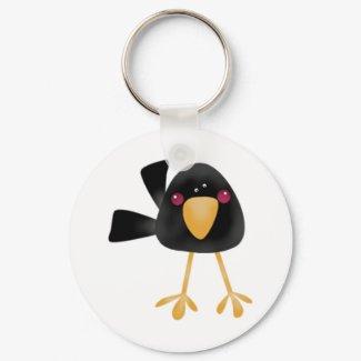 Cute Black Baby Crow Keychain keychain