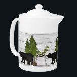 "Cute Black Bears faux wood cabin Teapot<br><div class=""desc"">design by Cheryl Seslar at www.digiwebstudio.com</div>"